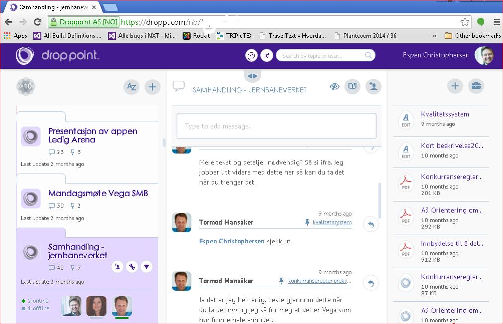 DropPoint online samarbeide